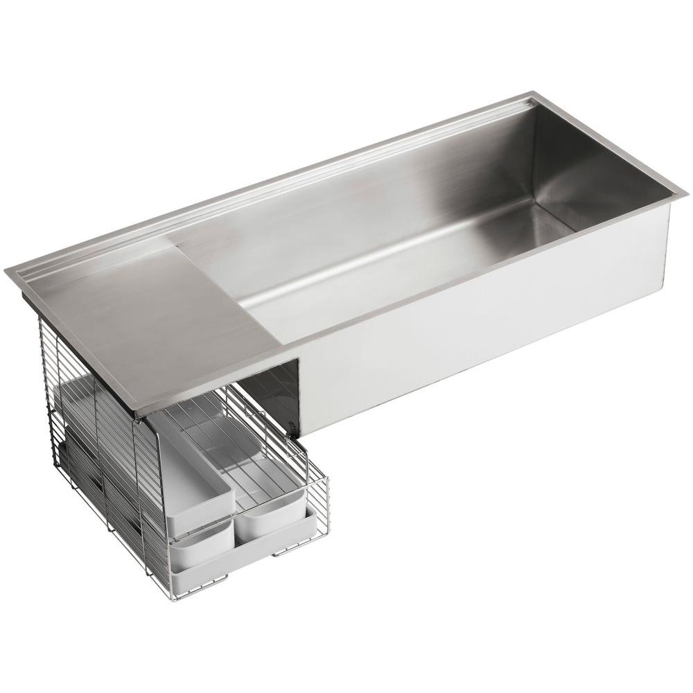 Stages Undermount Stainless Steel 45 in. Single Bowl Kitchen Sink Kit