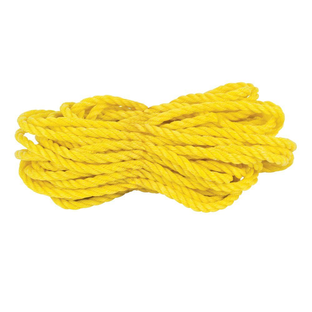 1/4 in. x 1 ft. Yellow Twisted Polypropylene Rope