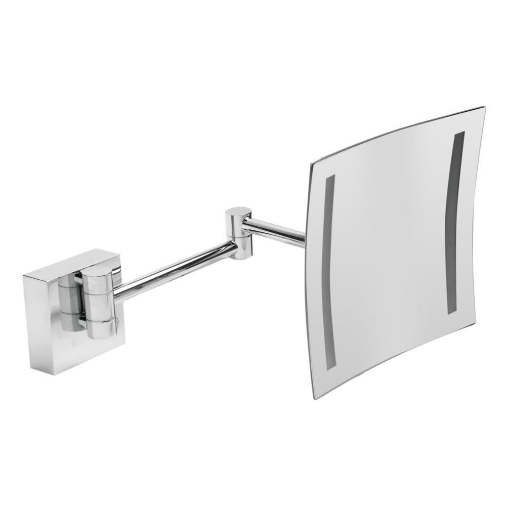 Alfi Brand 8 In X Square Frameless Wall Mounted Led Lighted Single 5x Mirror Polished Chrome