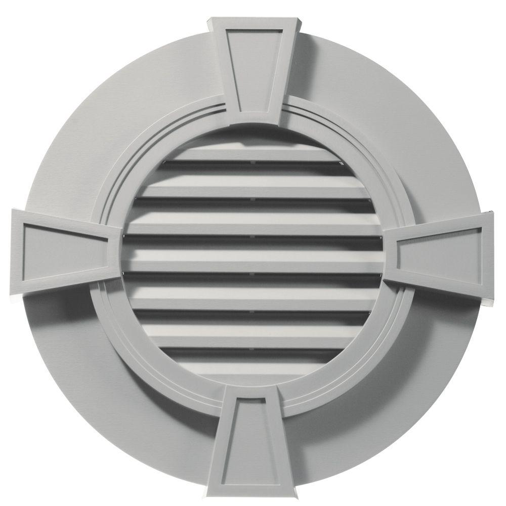 Builders Edge 30 in. Round Gable Vent with Keystones in Paintable