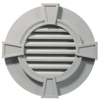 30 in. Round Gable Vent with Keystones in Paintable