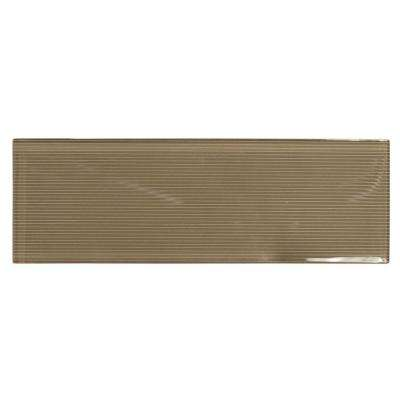 Pecan Brown 3 in. x 12 in. x 8 mm Glass Wall Tile