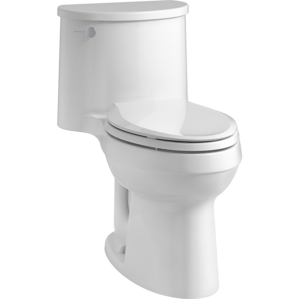 KOHLER Adair Comfort Height 1-Piece 1.28 GPF Single Flush Elongated Toilet with AquaPiston Flush Technology in White