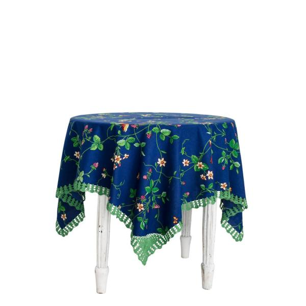 April Cornell Strawberry Fields 60'' x 90'' Blue Rectangular Tablecloth