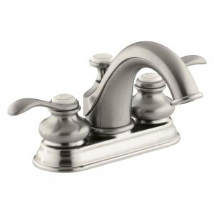 Fairfax 4 in. Centerset 2-Handle Low-Arc Water-Saving Bathroom Faucet in Vibrant Brushed Nickel