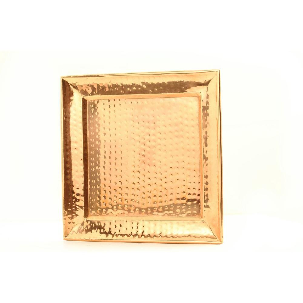 Old Dutch 11 in. Square Decor Copper Hammered Tray