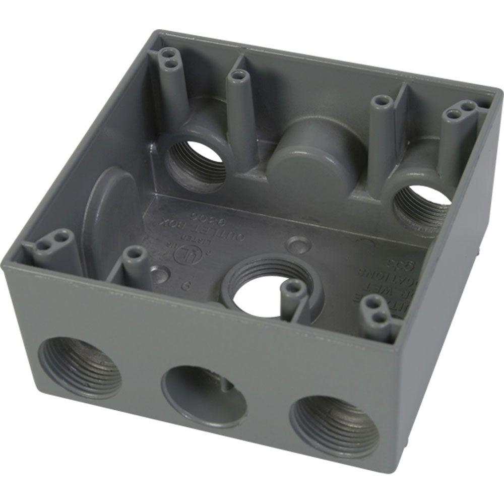 2 Gang Weatherproof Electrical Outlet Box with Five 3/4 in. Holes