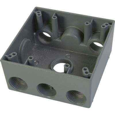 2 Gang Weatherproof Electrical Outlet Box with Five 3/4 in. Holes - Gray