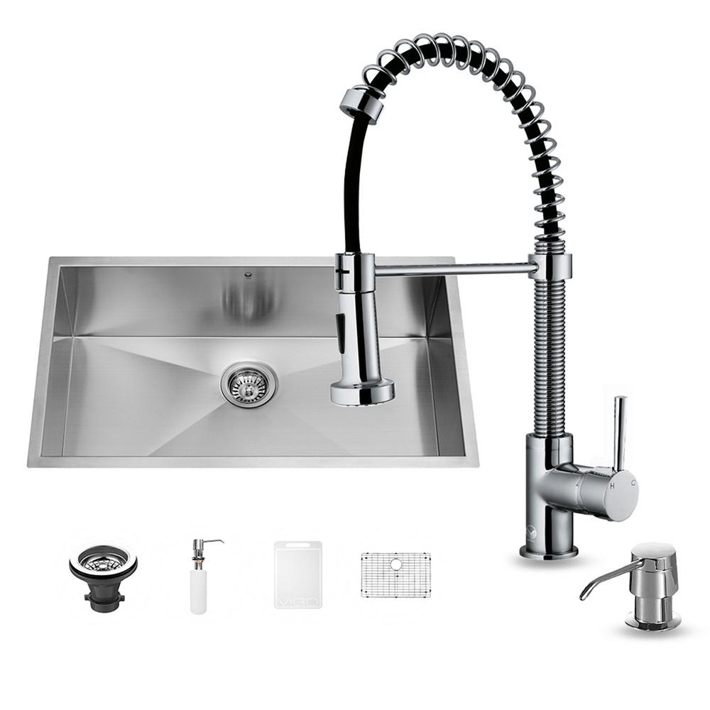 VIGO All In One Undermount Stainless Steel 30 In. Single Bowl Kitchen Sink  In Chrome VG15243   The Home Depot