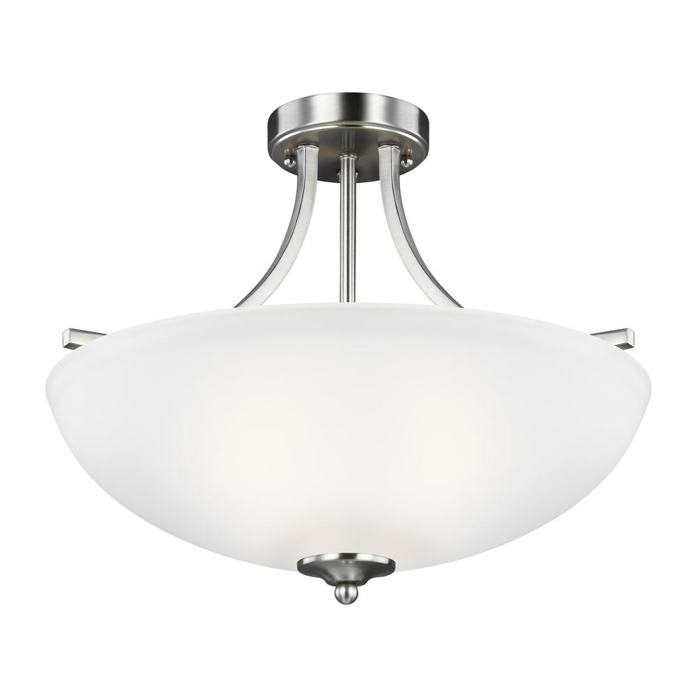 This review is fromgeary 3 light brushed nickel semi flush mount convertible pendant