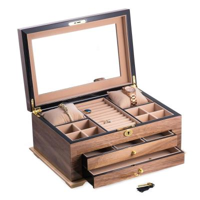 """Walnut"" Lacquered Wood 3-Level Jewelry Box with Gold Accents and Locking Lid"