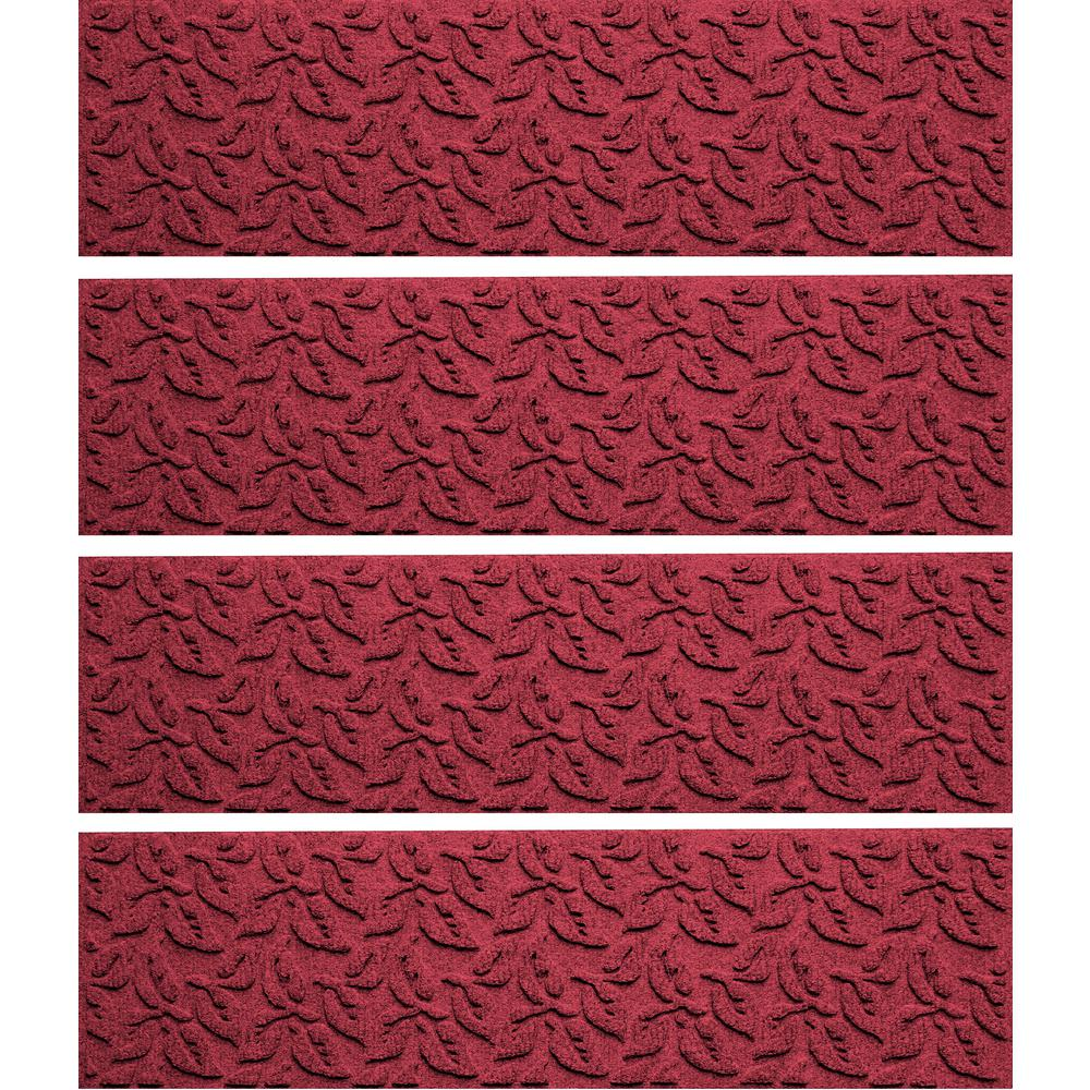 Red/Black 8.5 in. x 30 in. Dogwood Leaf Stair Tread (Set