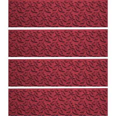 Red/Black 8.5 in. x 30 in. Dogwood Leaf Stair Tread Cover (Set of 4)