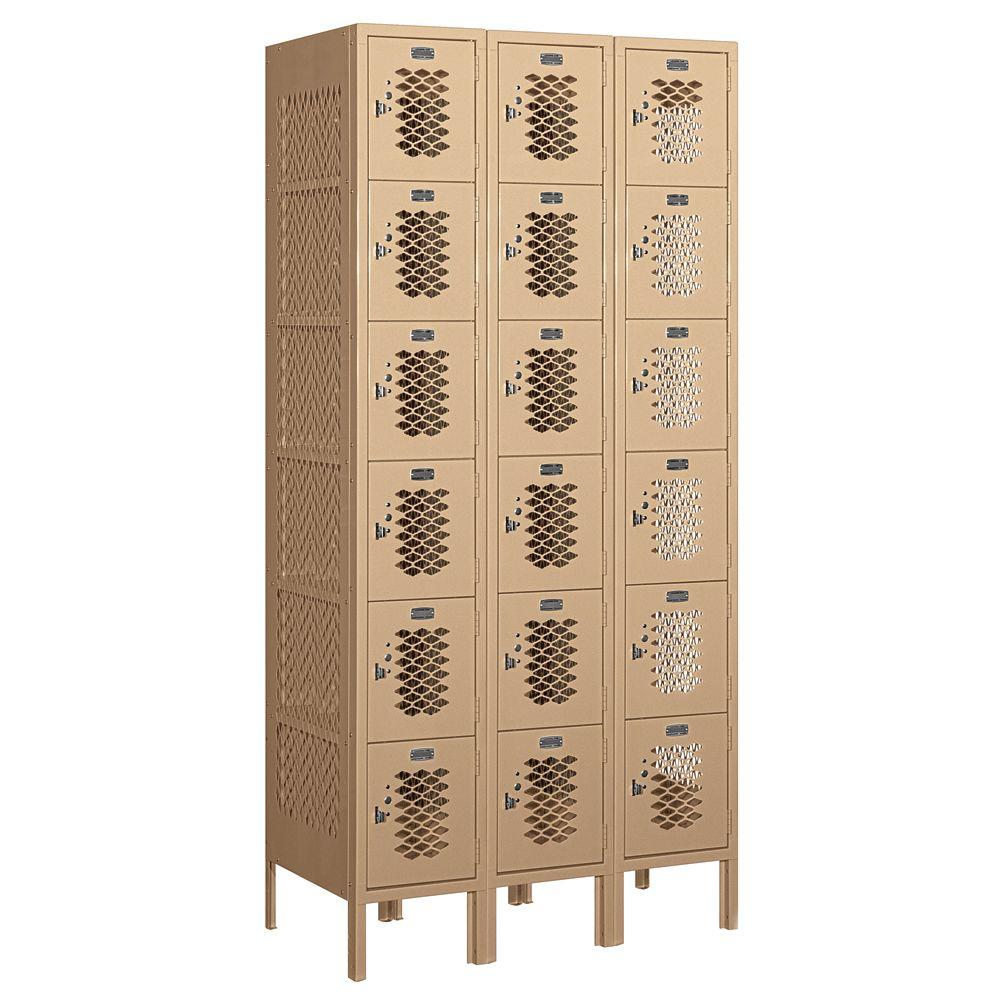 Salsbury Industries 76000 Series 36 in. W x 78 in. H x 18 in. D Six Tier Box Style Vented Metal Locker Unassembled in Tan