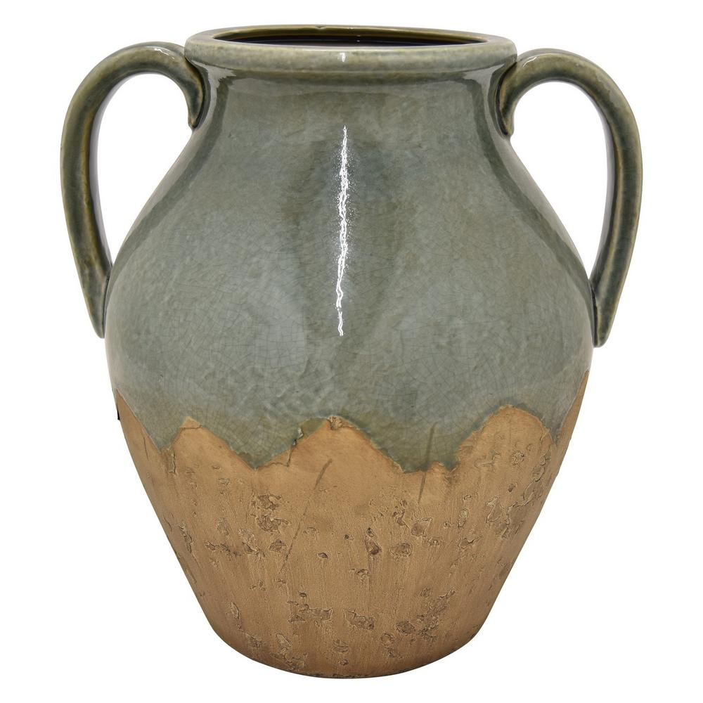 13.5 in. Green Ceramic Vase