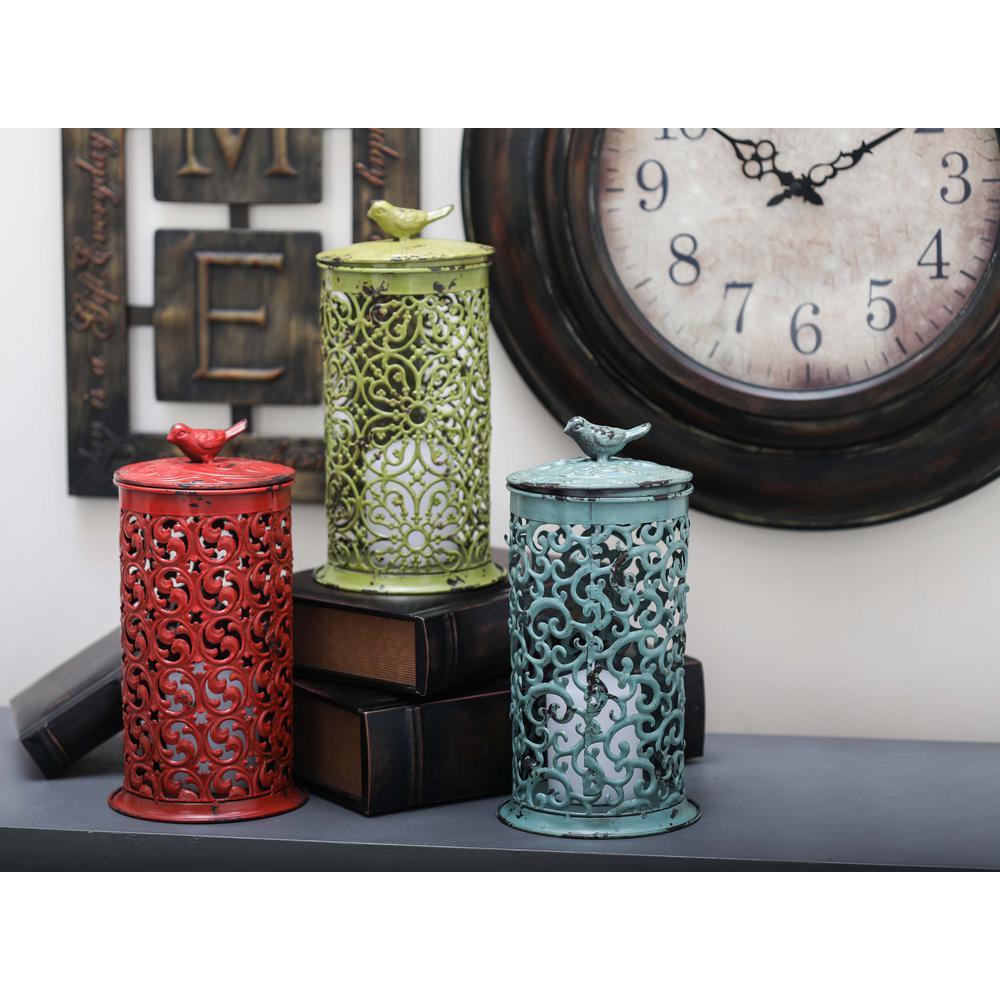 12 in. x 7 in. Rustic Iron Candle Bird Lanterns in