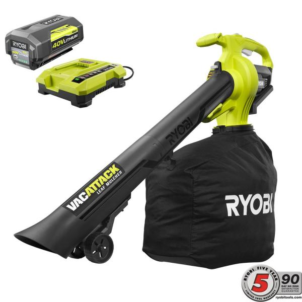 RYOBI 40-Volt Lithium-Ion Cordless Leaf Vacuum/Mulcher with 4.0 Ah Battery and Charger Included