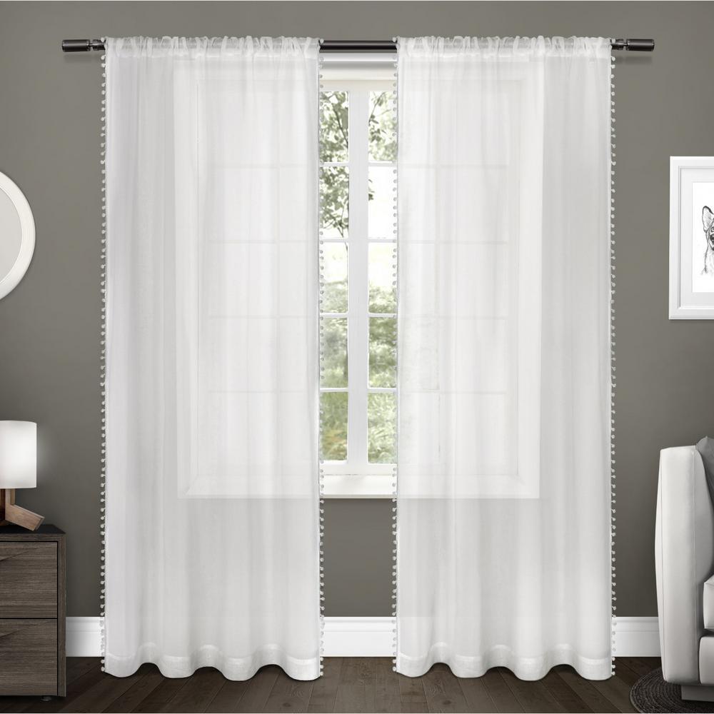 Pom Pom 54 in. W x 96 in. L Sheer Rod Pocket Top Curtain Panel in Winter White (2 Panels)