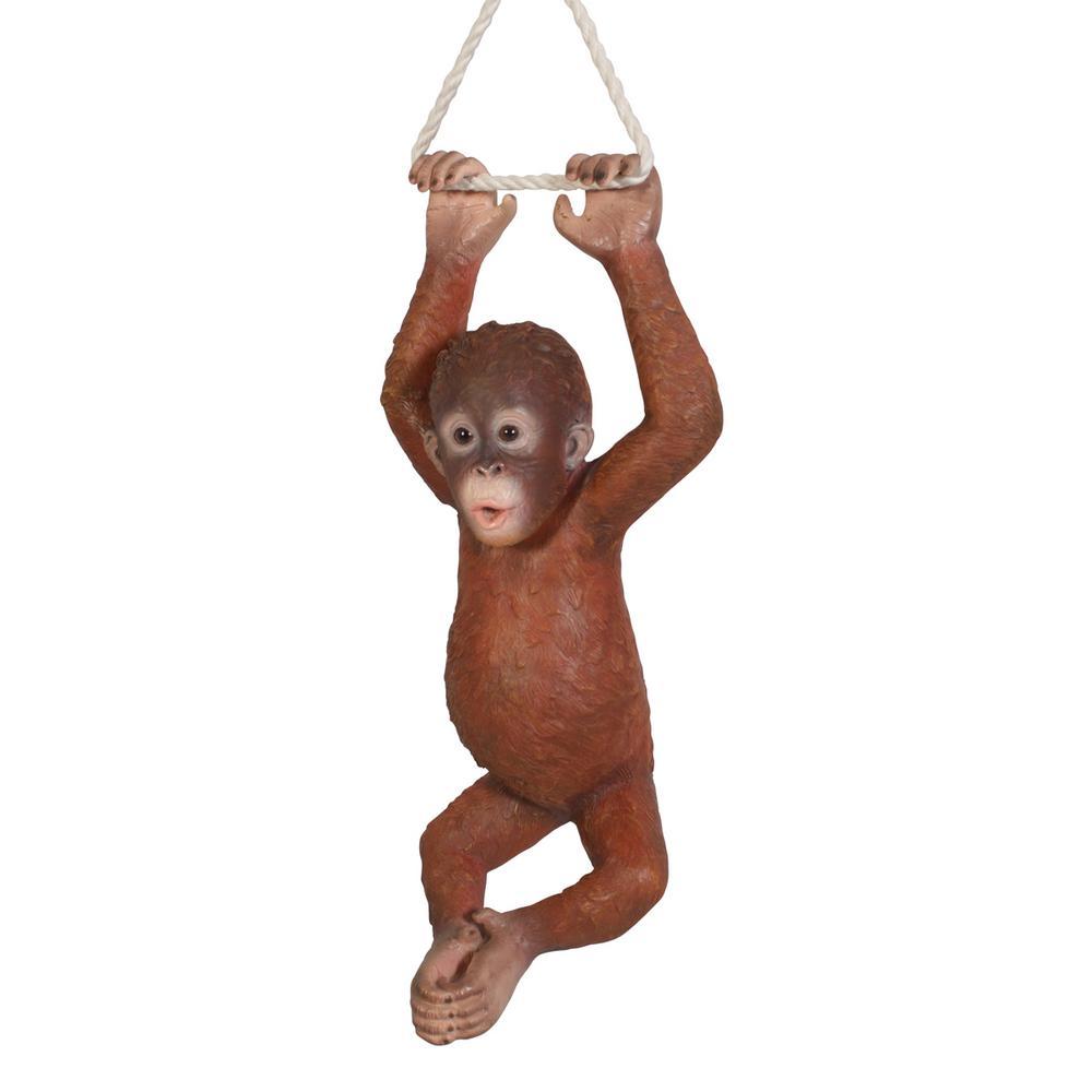 ORANGUTAN BABY APE SITS REALISTIC LIFE LIKE HOME GARDEN DECOR STATUE FREE SHIP