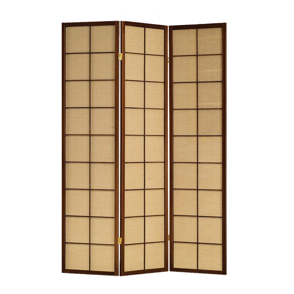 Calabasas 6 ft. Brown 3-Panel Room Divider