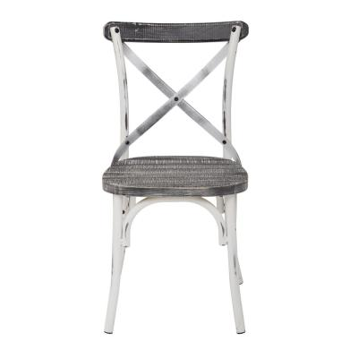 OSP Home Furnishings Somerset X-Back Antique White Metal Chair with Hardwood Vintage Crazy Horse Seat, Antique White Metal...