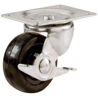4 in. Soft Rubber Swivel Plate Caster with 225 lbs. Load Rating and Brake