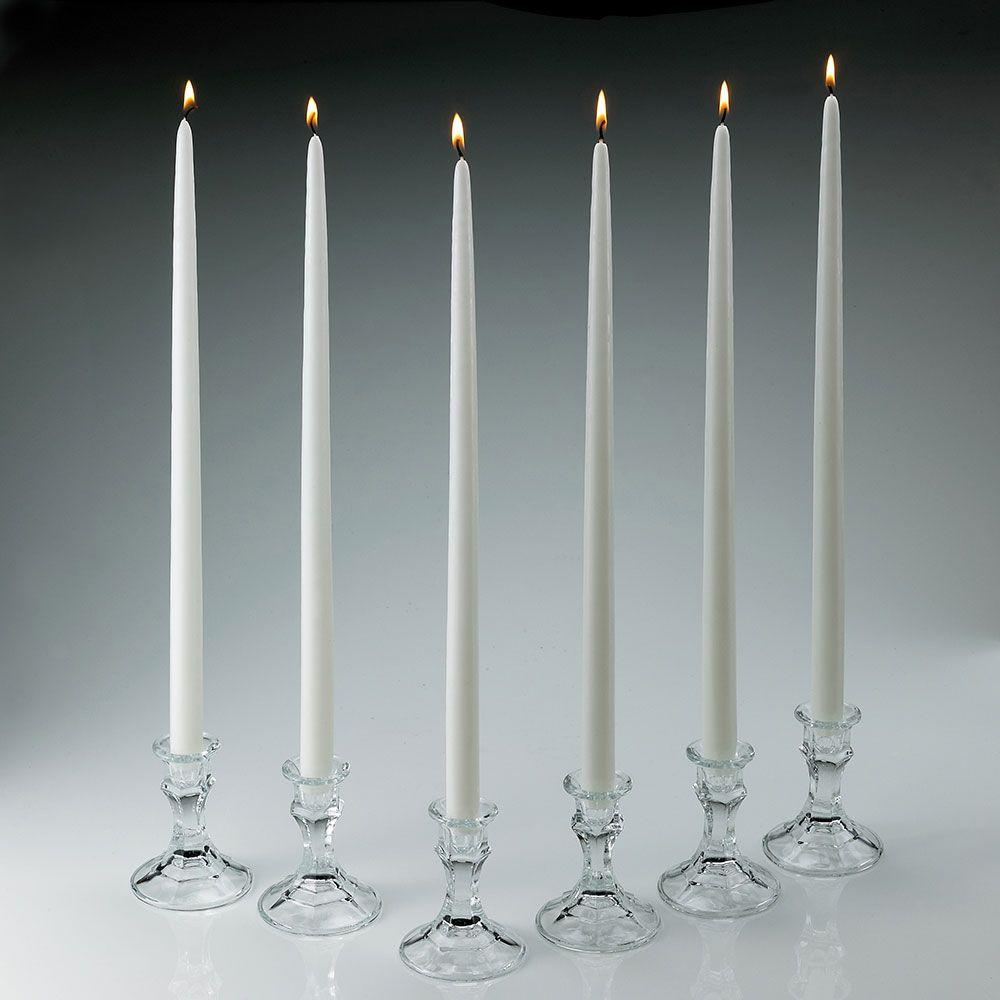 18 in. Tall White Taper Candles (Set of 12)