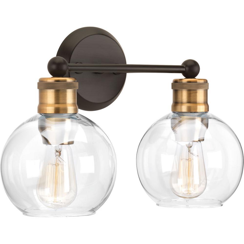 Progress Lighting Hansford Collection 2-Light Antique Bronze Bathroom Vanity Light with Clear Globe Shades