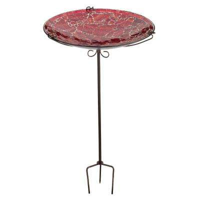 Mosaic Birdbath/Feeder Stake - Red Crackle