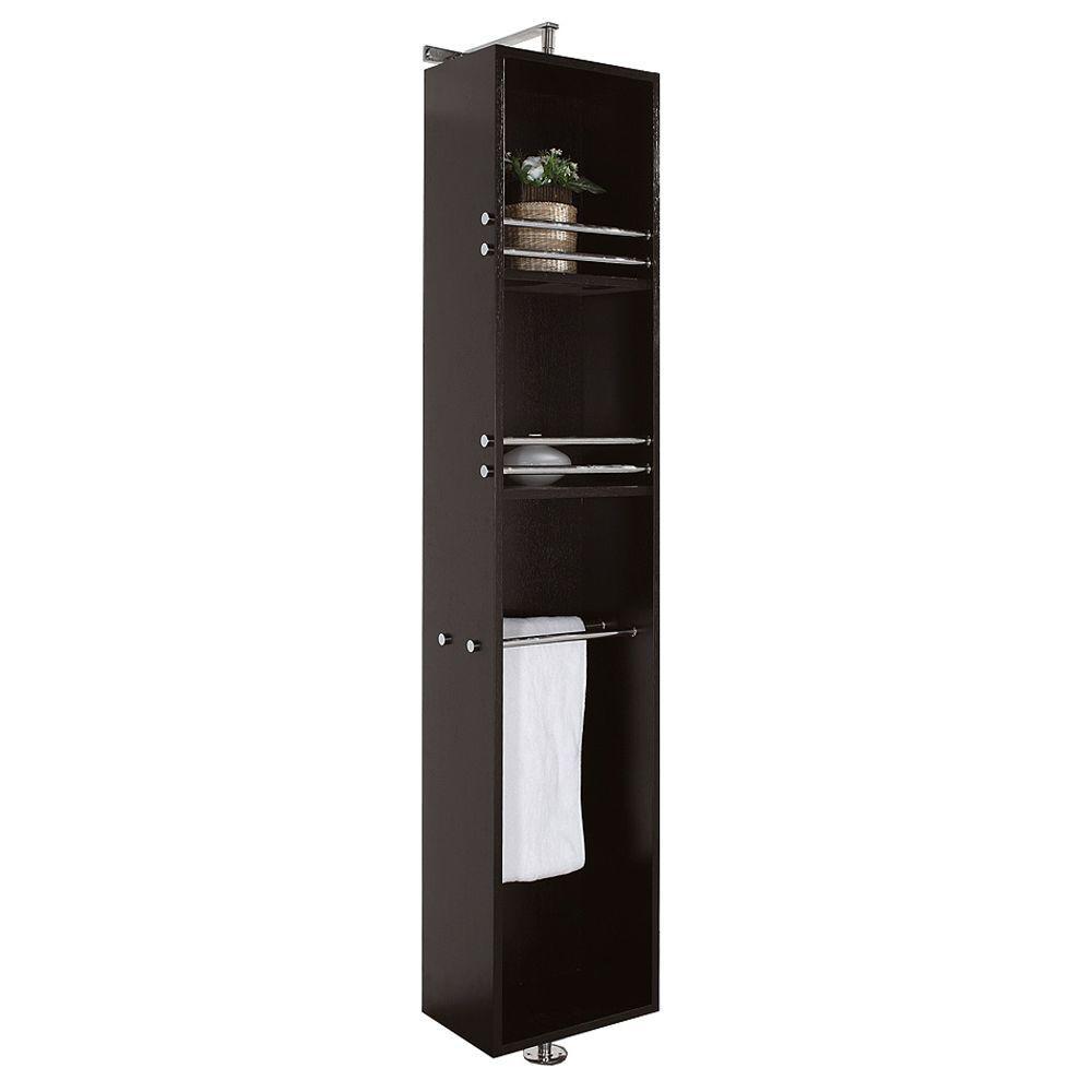Wyndham Collection April 13-3/4 in. Wx 79-1/2 in. H x 15-1/2 in. D Bathroom Linen Storage Cabinet in Espresso