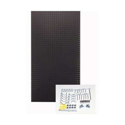 24 in. H x 42 in. W Pegboard 1-Pack Black High-Density Fiberboard Kit with 36 Hooks