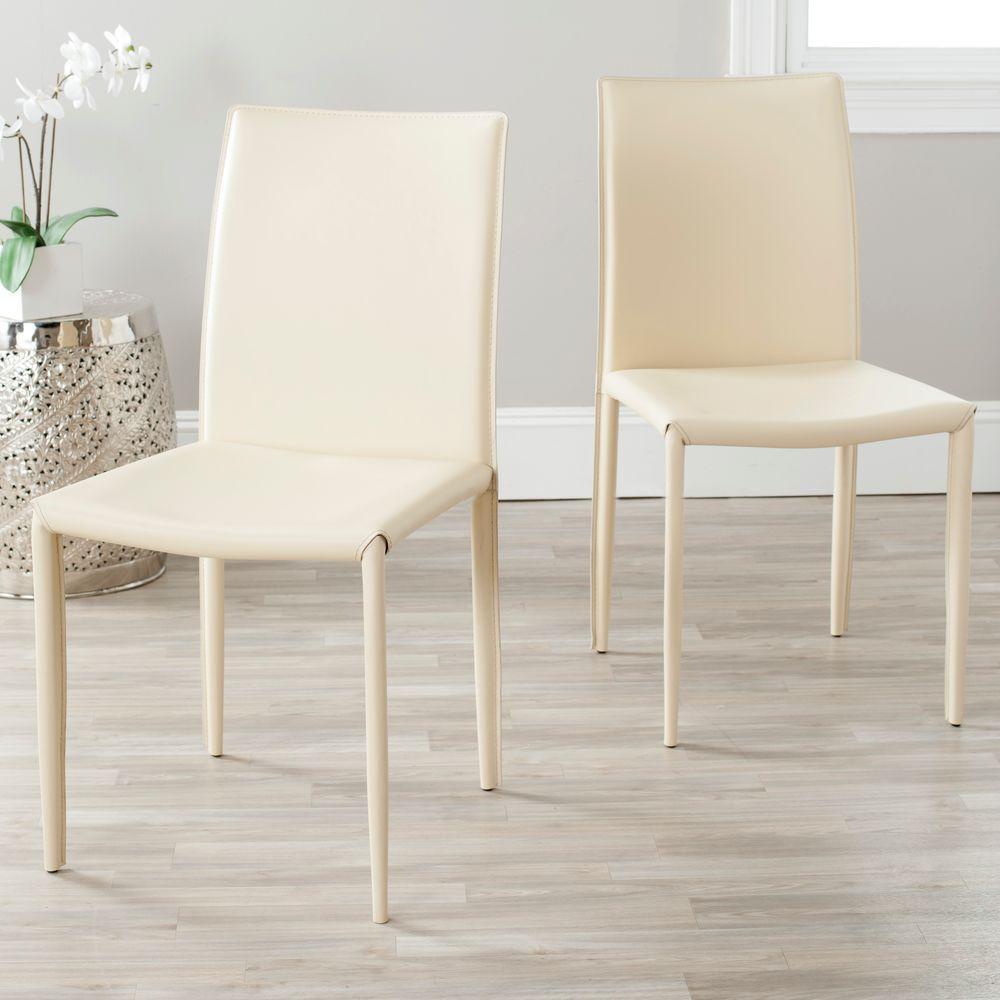 Karna Cream Bonded Leather Dining Chair Set Of 2