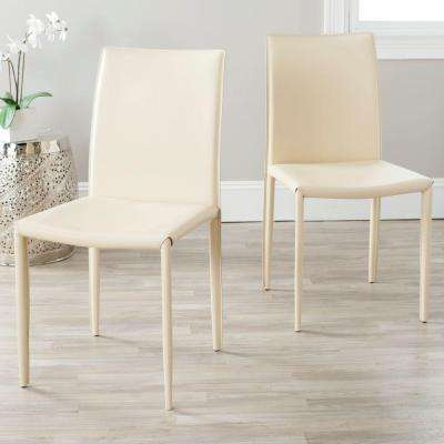 Karna Cream Bonded Leather Dining Chair (Set of 2)