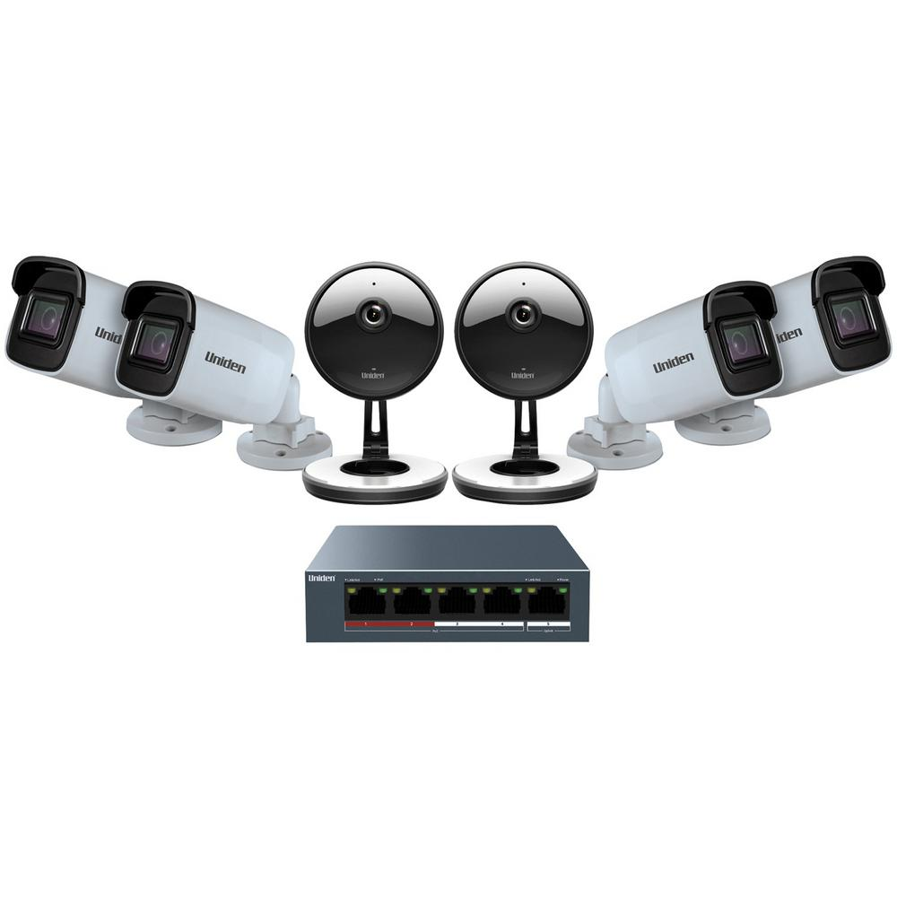 Unlimited-Channel 1080p Security Camera System with 6-Cameras Hassle-free, high-quality video through the cloud is a breeze with the Uniden 6 Camera 1080p Indoor/Outdoor Security Cloud System with 5-port PoE switch. No network expertise and no DVR needed just plug and play and you can view it directly on a smartphone or browser. Security just got easier.