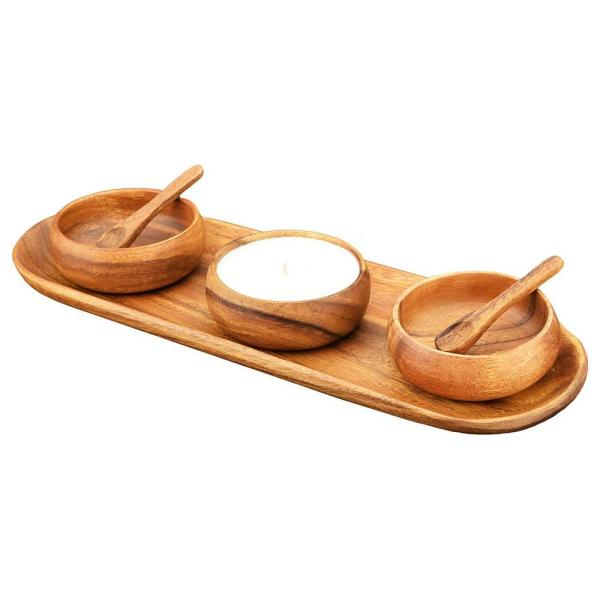 Acaciaware 6-Piece Wood Baguette Tray Set with Bowls, Spoons, and Scented