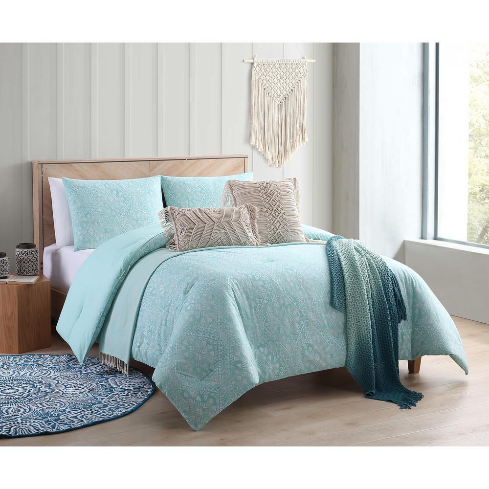 Kaibu Isle Aqua Boho Block Print Twin/Twin XL Comforter Set