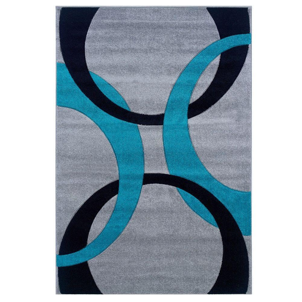 Linon Home Decor Corfu Collection Grey and Turquoise 5 ft. x 7 ft. 7 in. Indoor Area Rug