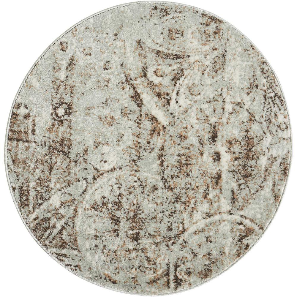 nourison euphoria grey 3 ft round area rug 366283 the home depot. Black Bedroom Furniture Sets. Home Design Ideas