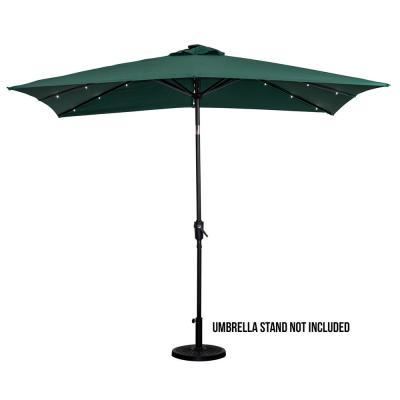 9 ft. x7 ft. Rectangular Market Patio Umbrella Solar Lighted in Hunter Green