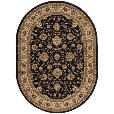 Elegance Black 5 ft. 3 in. x 7 ft. 3 in. Oval Indoor Area Rug