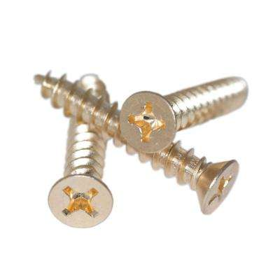 #12 x 1-1/2 in. Bright Brass Phillips Flat-Head Screw with Oversize Threads for Loose Commercial Door Hinges (60-Pack)