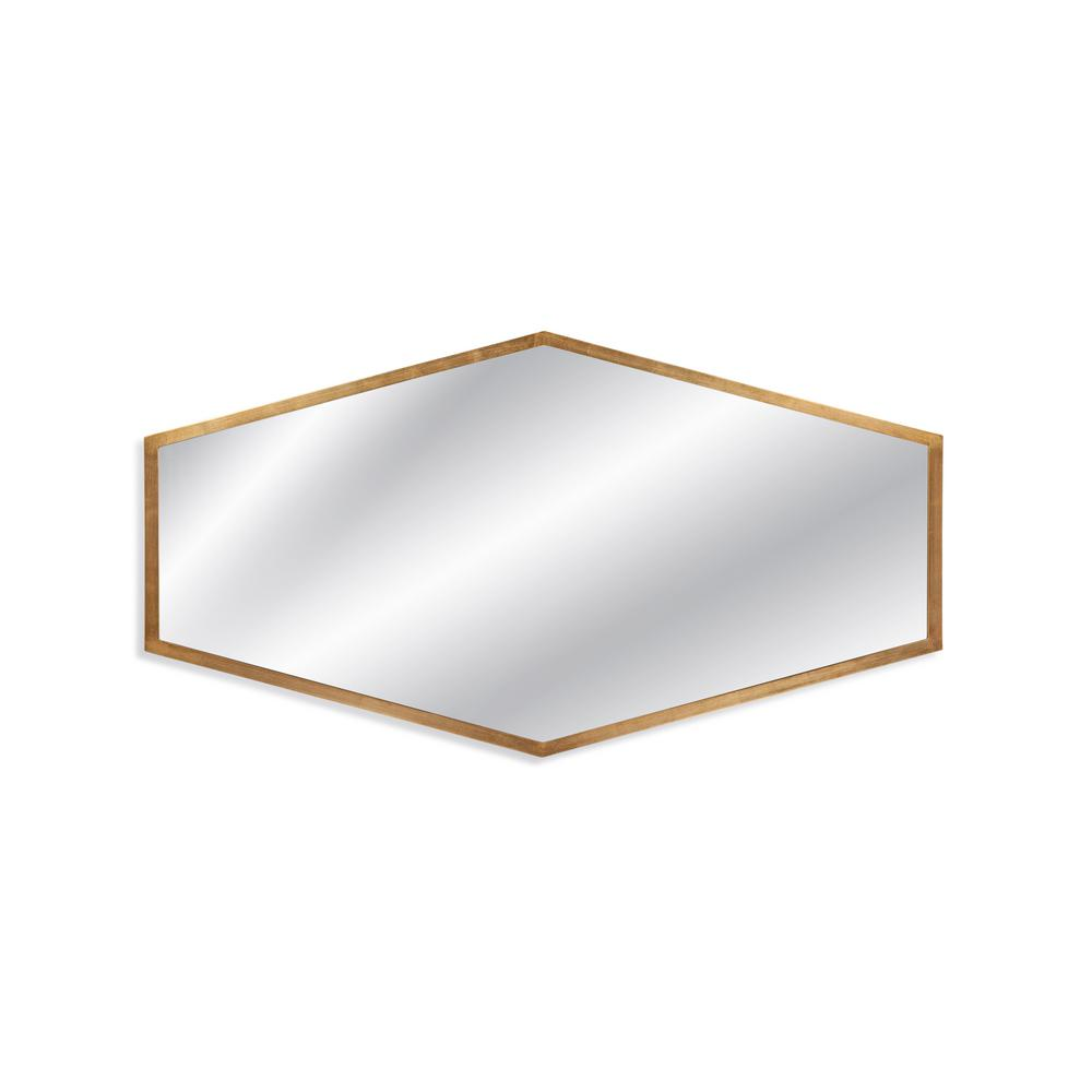BASSETT MIRROR COMPANY Haines Decorative Wall Mirror This hexagonal piece from Bassett Mirrors Hollywood Glam collection has a gold leaf finish that fits seamlessly among surrounding decor. The Haines mirror is an unforgettable addition that can be hung vertically or horizontally on any wall. This mirror can be used as a single item or in a set to create a beautiful room setting.