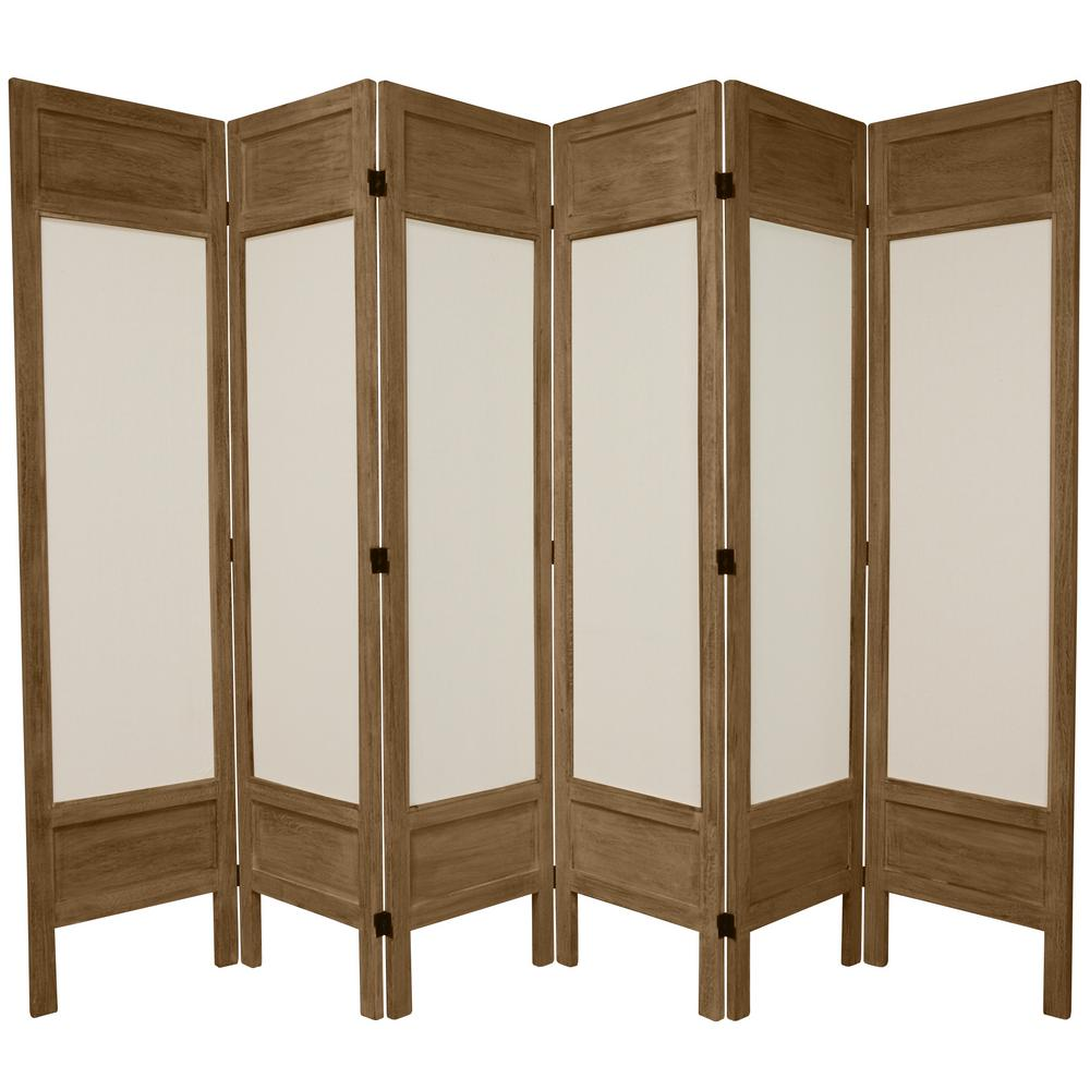 Oriental 6 ft. Burnt Grey Solid Muslin 6-Panel Room Divider