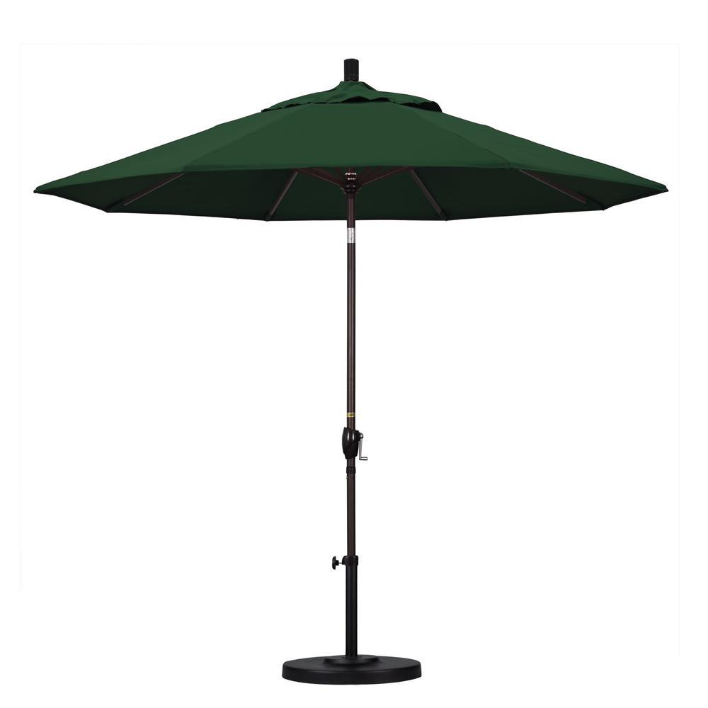 9 ft. Aluminum Push Tilt Patio Umbrella in Hunter Green Pacifica