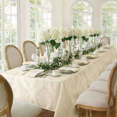 60 in. W x 102 in. L Antique Elrene Barcelona Damask Fabric Tablecloth