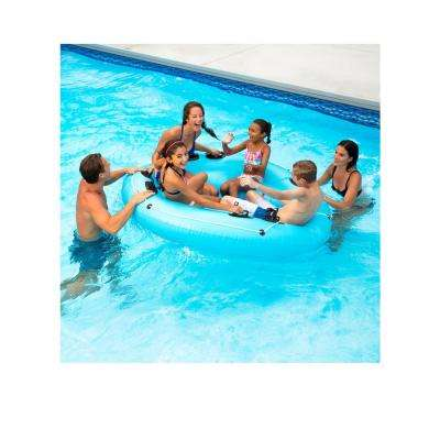 77 in. Dia Rock and Roll Island Float in Aqua Blue