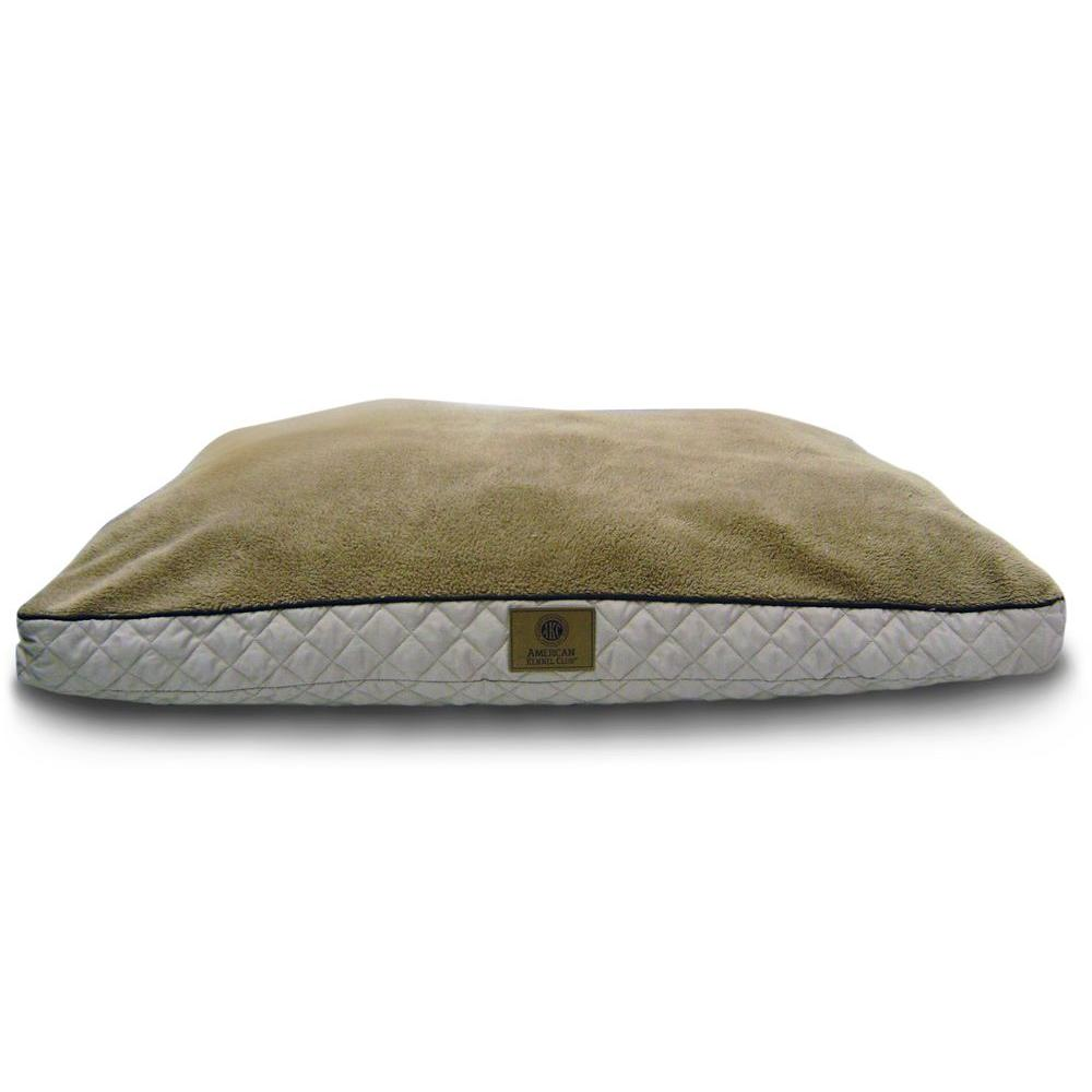 Deluxe X-Large 30x40 in. Tan Fur Diamond Stitched Gusset Pet Bed