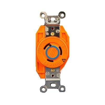 20 Amp 250-Volt Flush Mounting Isolated Ground Locking Outlet, Orange