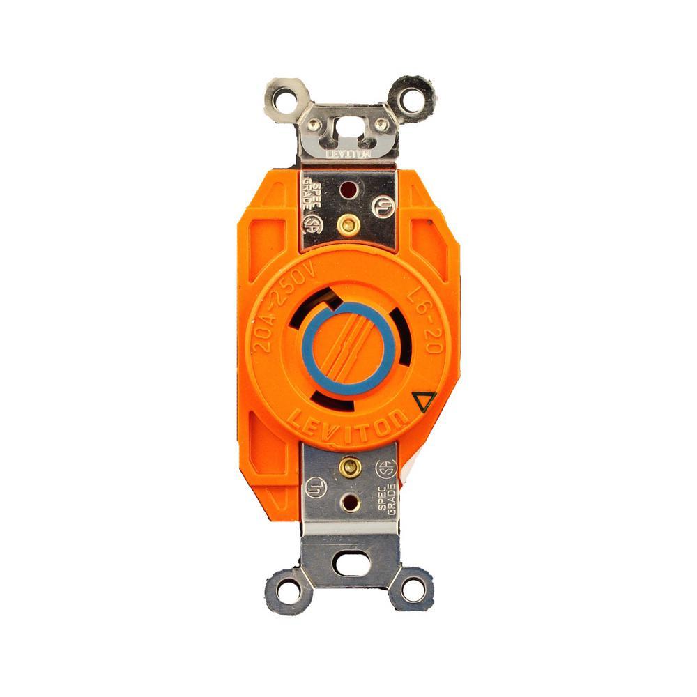 20 Amp 250-Volt Flush Mounting Isolated Ground Locking Outlet, Orange