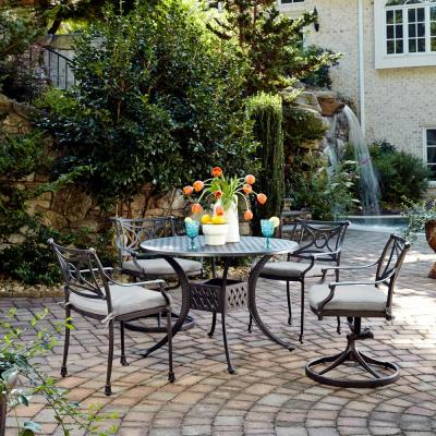 La Jolla Cast Gray 5-Piece Aluminum Round Outdoor Dining Set with Gray Cushions
